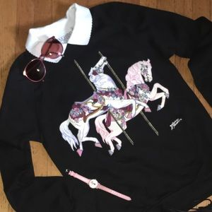 Vintage carrousel horse sweatshirt with collar