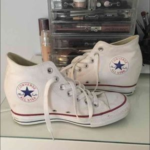 Wedged heel white converse!