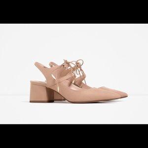 Zara lace up block heel shoe!
