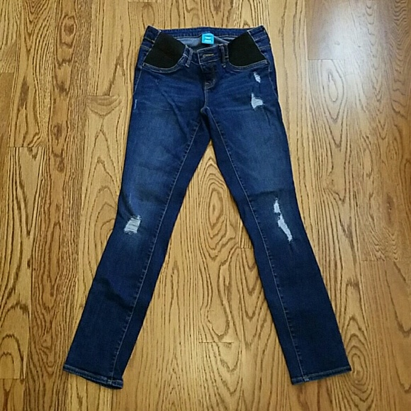 Old Navy - OLD NAVY maternity jeans side panel destructed from ...