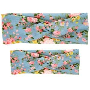 Other - SALE! NWOT Mama and Me Blue Floral Headband Set
