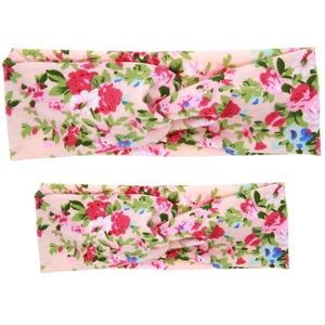 Other - SALE! NWOT Mama and Me Pink Floral Headband Set