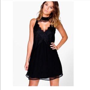 boohoo black lace choker dress