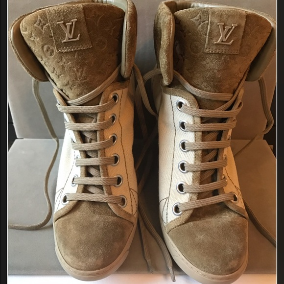f37aecefadc Louis Vuitton Shoes - Louis Vuitton Monogrammed Wedge Sneakers