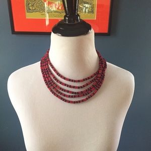 Wooden Beaded Layered Choker Necklace