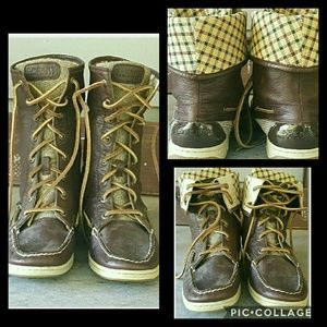 Sperry Top-Sider Shoes - Sperry Topsider RAD PLAID Lined Fold Over Boots 7