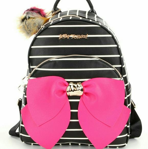 6b41c442122 Betsey Johnson Bags   Striped Bow Backpack   Poshmark