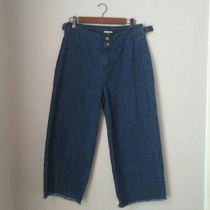 Fashion Union Pants - Frayed Hem Wide Leg High Waist Cullotes 8