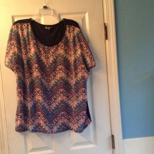 Absolutely Famous Tops - Polyester Chevron print top with inside lining.