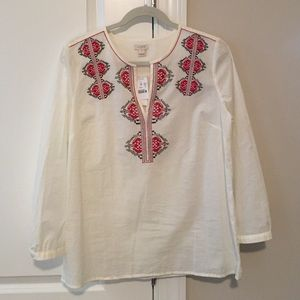 NWT J Crew embroidered top - size M