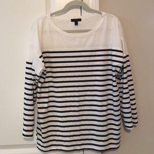 J Crew blue & white striped top - size L