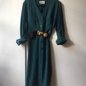 Vintage Teal Silk Jacket dress