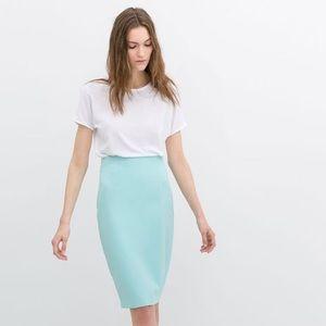Zara Dresses & Skirts - Zara Mint Blue Pencil Skirt