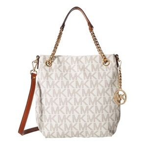 NEW Authentic Michael Kors Chain Tote, Vanilla