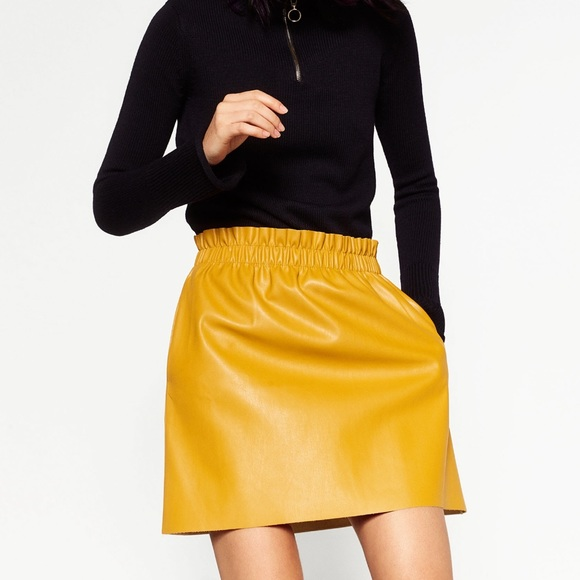 Zara - ZARA Faux Leather Yellow Mini Skirt Small from Kelly ann ...