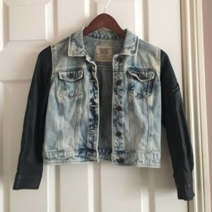 ZARA denim jacket with leather sleeves (cropped)