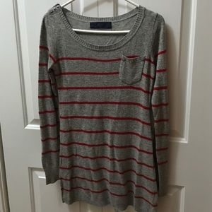 Grey and Red long Sweater