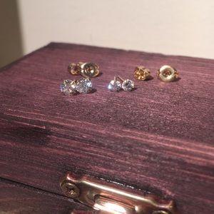 Swarovski Jewelry - 2 solid gold stud earrings