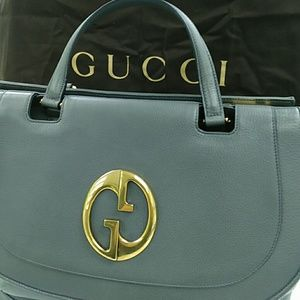 GUCCI LG Teal Pebble Leather 1973
