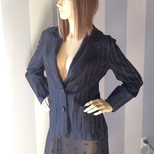 Trina Turk black gray on black striped blazer