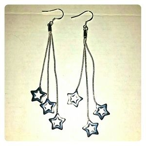 *Triple Silver Star Dangle Earrings!*