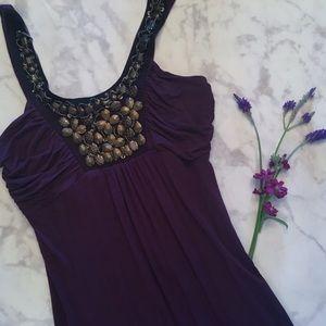 Jasmin Dresses & Skirts - Embellished Plum Casual Dress