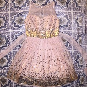 Crystal Doll Dresses & Skirts - Pink Sequin Illusion Dress