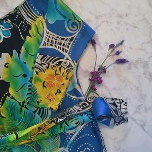 Cache Dresses & Skirts - Caché Satin Tunic Print Dress