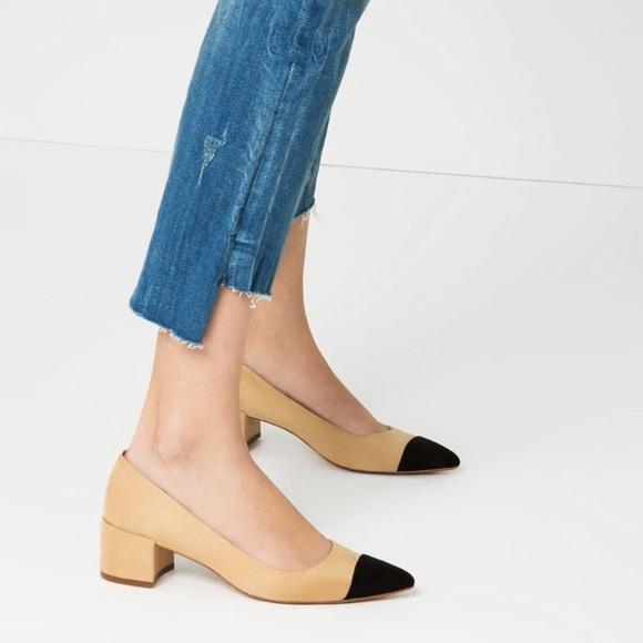 4d2e553e76 ... New Zara Block Heel Black Cap Toe Suede Pumps.  M_584206ebc284565d3200685f