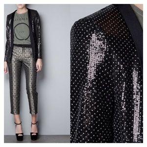 Zara Gold Black Sequin Tuxedo Blazer