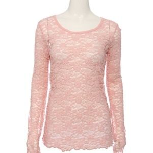 Pink lace scoop neck top