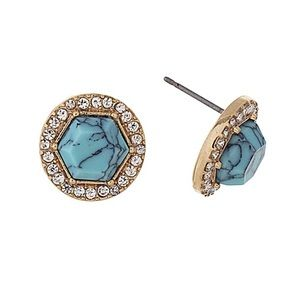 🌎👂🏼Turquoise Hex Post Earrings w/Bling Halo