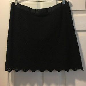 JCrew black lace scallop skirt