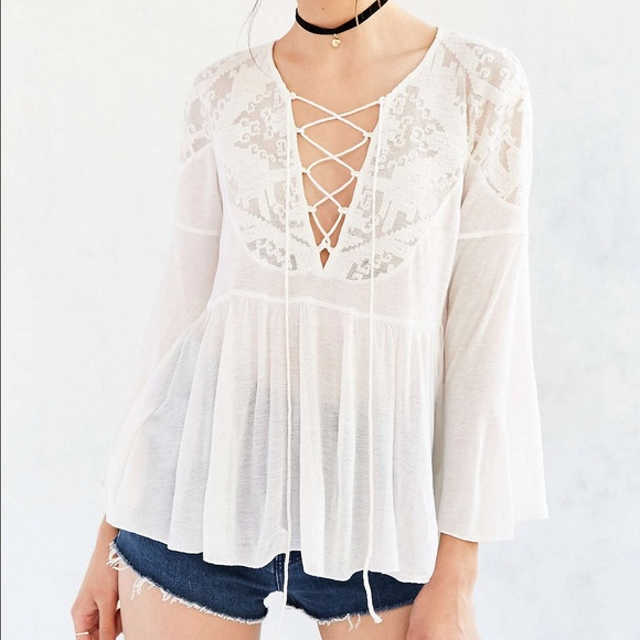 Ecote lace-up babydoll blouse. Brand new. a0bf3c45f