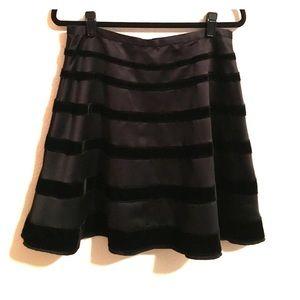 Behnaz Sarafpour Dresses & Skirts - Black Satin and Velvet striped A line skirt