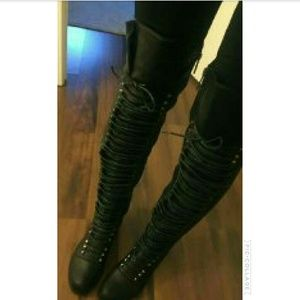 SARAH SIAH Shoes - BLACK PU CORSET Over The knee Boots