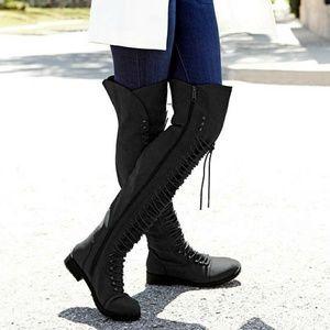 SARAH SIAH Shoes - RESTOCKED***🍂🖤Black PU Corset Over The knee