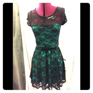Wet Seal green and black lace dress. Size M.