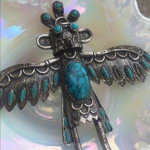 Kachina vintage bolo tie turquoise/silver 60s