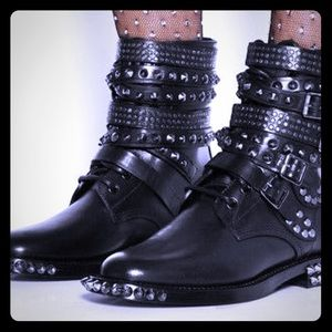 Saint Laurent Shoes - Saint Laurent Studded Ranger Boots 39.5