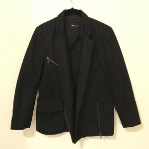 ASOS Jackets & Blazers - ASOS Grey Black Pinstripe Zipper Jacket Coat