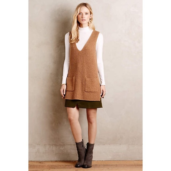 69% off Anthropologie Sweaters - Anthropologie camel sweater vest ...