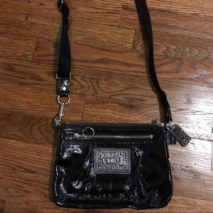 Coach Poppy crossbody patent leather black bag