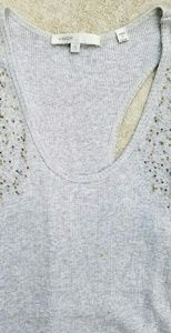 Vince Tops - Vince Ribbed Tank Gray With Beads Racerback