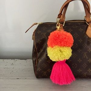 Accessories - Hand Made Colorful Pom Pom Tassel Keychain