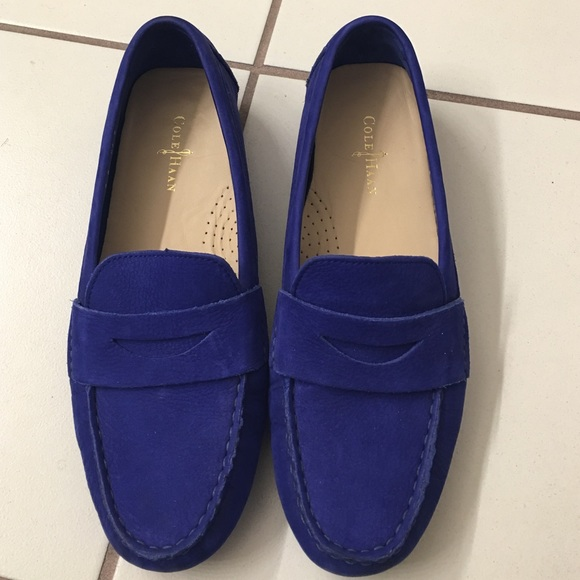 Suede Driving Shoe - True blue Selected