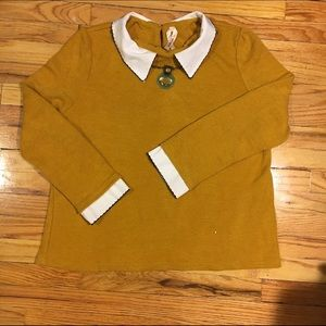 Kristin Miles Tops - Mustard Yellow Thick Sweater w/faux shirt collar