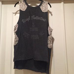 Free People We The Free Lace Crochet Graphic Tank