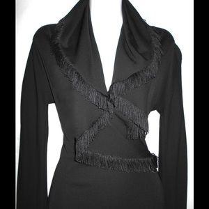Jean Paul Gaultier Dresses & Skirts - JEAN PAUL GAULTIER BLACK HOODED FRINGE DRESS SZ 10