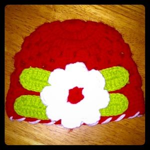 Other - 🆕Handmade Crocheted Red, White&Green Hat W/Flower